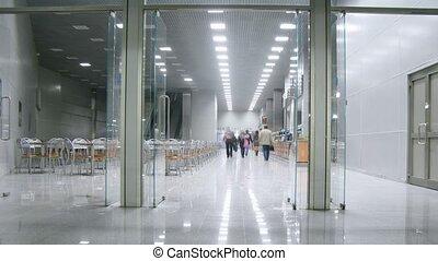 intérieur, expo, centre, buffet, gens