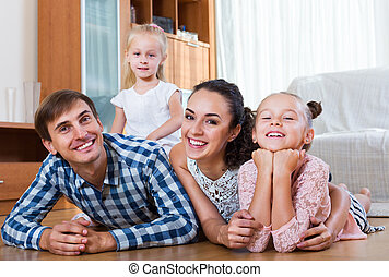 intérieur, famille, décontracté, conjugal