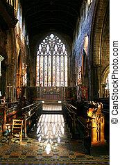 intérieur, fenêtre, église