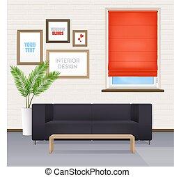 intérieur, fenêtre, abat-jour, salle, meubles