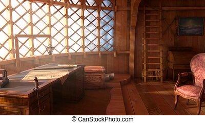 intérieur, flytrough, bateau