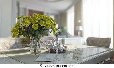intérieur, flytrough, conjugal, salle