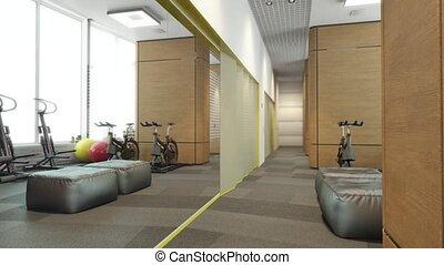 intérieur, flytrough, sport, salle