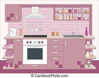 intérieur, furniture., cuisine