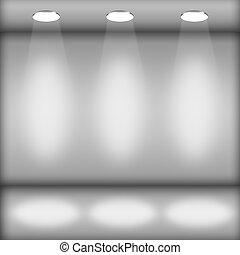 intérieur, galerie, projecteurs