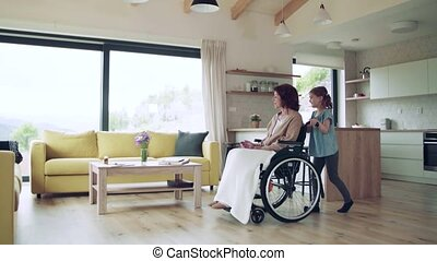 intérieur, girl, home., fauteuil roulant, petit, grand-mère, personne agee, elle