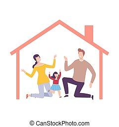 intérieur, heureux, vecteur, leur, maison, parents, illustration, cadre, fille, maison, famille