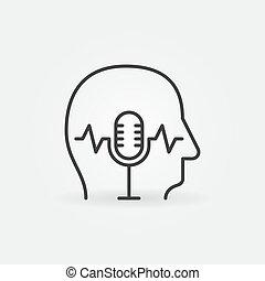 intérieur, icône, microphone, linéaire, humain, vecteur, tête, concept
