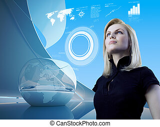 intérieur, interface, blond, avenir, séduisant