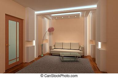 intérieur, lounge., 3d