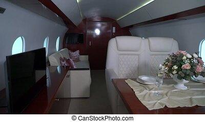 intérieur, luxe, intérieur, privé, vip, jet., avion, cabane avion