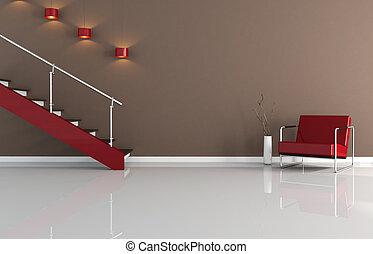 intérieur, moderne, escalier