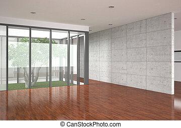 intérieur, moderne, vide, parquet