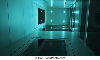 intérieur, monter, ascenseur, vue