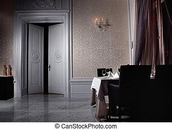 intérieur, ouvert, blanc, porte, classique
