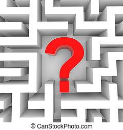 intérieur, point interrogation, blanc, maze., rouges
