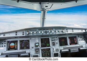 intérieur, poste pilotage, avion, civil, avion