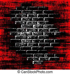 intérieur., résumé, fond, briques, grungy, sombre, rouges