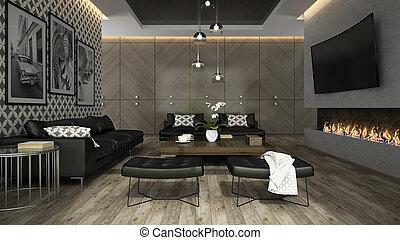 intérieur, rendre, papier peint, salle, vivant, 4, élégant, 3d