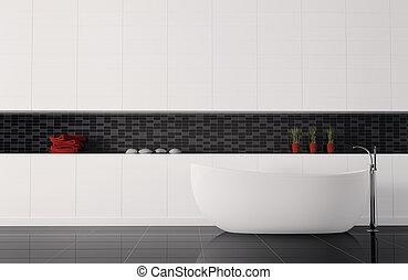 intérieur, salle bains, 3d