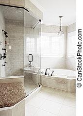 intérieur, salle bains, haut gamme