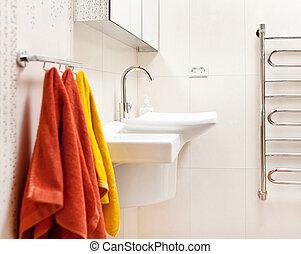 intérieur, salle bains, moderne, sombrer