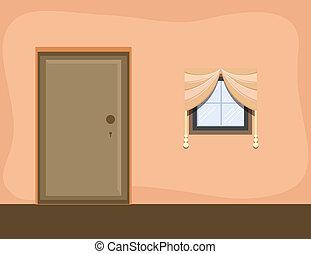 intérieur, -, salle, fond, dessin animé