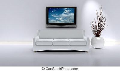 intérieur, sofa, contemporain