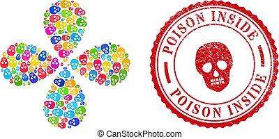 intérieur, timbre, multicolore, gratté, rotation, fleur, crâne, poison, cachet, résumé