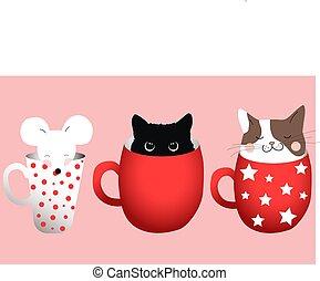 intérieur, trois, chats, souris, composition, tasses