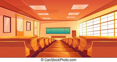 intérieur, université, vecteur, dessin animé, auditorium