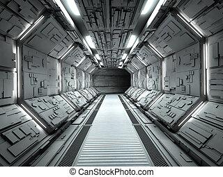 intérieur, vaisseau spatial, futuriste