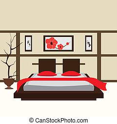 intérieur, vecteur, chambre à coucher