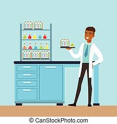 intérieur, vecteur, laboratoire, laboratoire, homme, recherche, scientifique, science, illustration, conduite