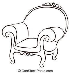 intérieur, vendange, arm-chair