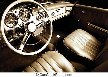 intérieur, voiture, luxe