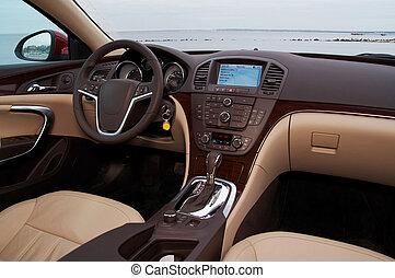 intérieur, voiture, moderne