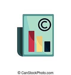 intellectuel, diagramme, icône, document, propriété, droit d'auteur
