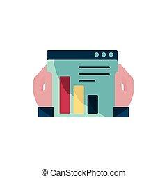 intellectuel, diagramme, mains, icône, propriété, droit d'auteur, site web