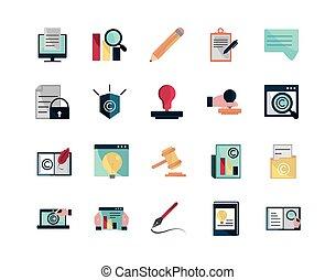 intellectuel, ensemble, icônes, propriété, droit d'auteur