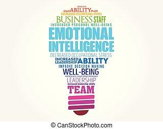 intelligence, émotif, ampoule, mot, nuage, lumière