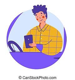 intelligent, business, automobile., banner., chauffeur, plat, tablette, concept.