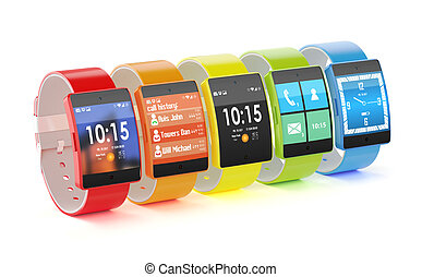 intelligent, différent, montres, interfaces, couleurs
