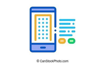 intelligent, icône, téléphone, maison, app, animation