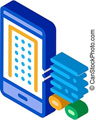 intelligent, isométrique, illustration, téléphone maison, vecteur, app, icône