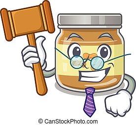 intelligent, juge, dessin animé, beurre arachide, style, caractère, mascotte