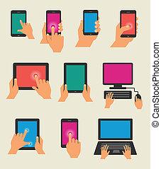 intelligent, mains, tenue, tablette, téléphone, ensemble