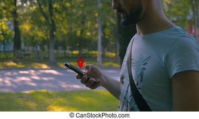 intelligent, marche homme, téléphone