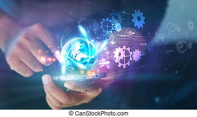 intelligent, numérique, toucher, social, concept, média, écran, téléphone., main, technologie