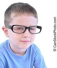 intelligent, peu, lunettes, garçon, blanc
